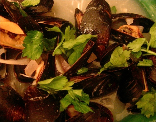 Clean-tasting, salty, and plump, Moules Mariniere swimming in their buttery sauce.