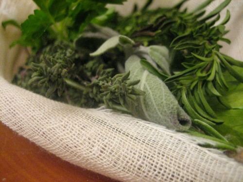 Nestled in a cheese cloth cocoon, these little herbs add a ton of flavor to the stock.