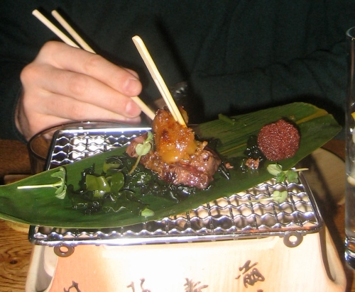 Whale Meat Tataki-Style in a Seaweek Mesclun Salad with Foie Gras