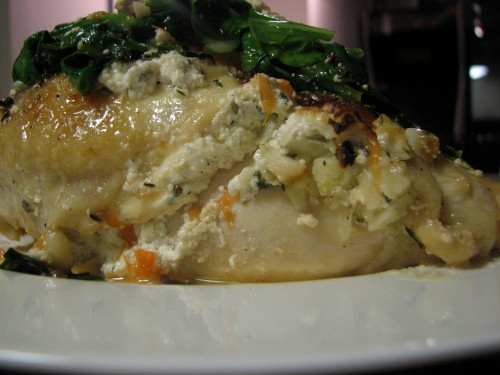 Ricotta Stuffed Chicken Breast with Grapefruit & Spinach