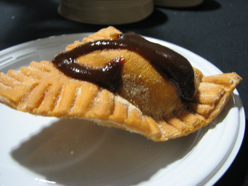 Smoked gouda empanada covered in Mexican chocolate sauce from Masa in the South End.