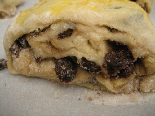 You can see the dough straining to hold in the luscious sugar-butter-raisin filling
