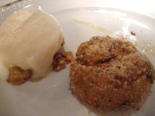 Soft & sweet cinnamon flan and icy smooth lemon gelato