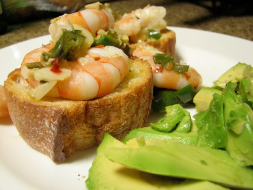 Shrimp, Chilis & Ginger with Avocado